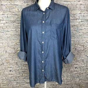 LOFT chambray The Softened Button Down Shirt